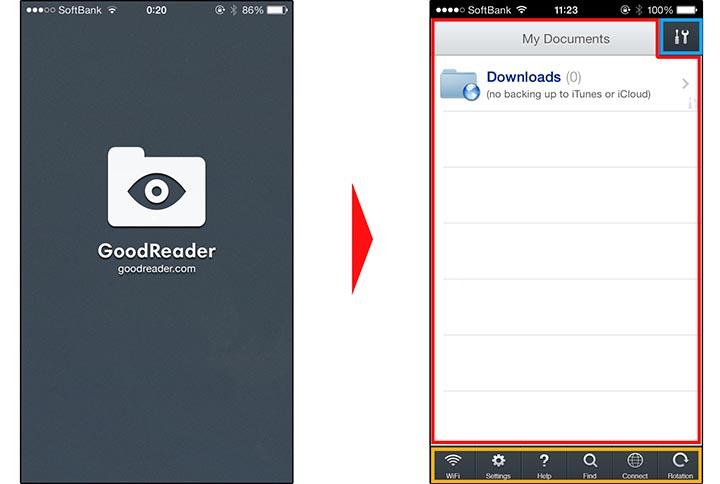 GoodReaderの画面