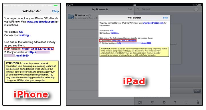 how to transfer pdf files to goodreader iphone